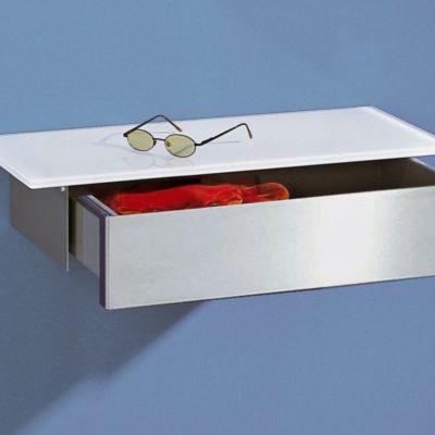 Wandkonsole Miss-T mit Schublade und geschliffener Edelstahlfront
