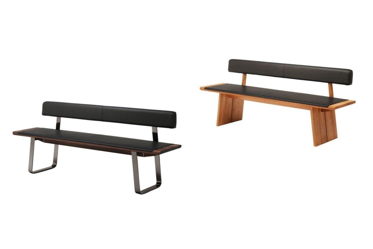 Sitzbank nox mit Metallkufen oder Holzwangenfuß