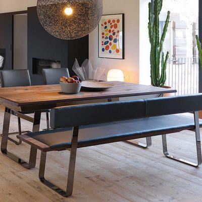 Sitzbank nox und Tisch nox mit Metallkufen