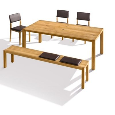 Tisch loft in Eiche sowie Sitzbank loft mit Sitzkissen und Stuhl S1 mit Sitz- und Rückenlehnenpolsterung