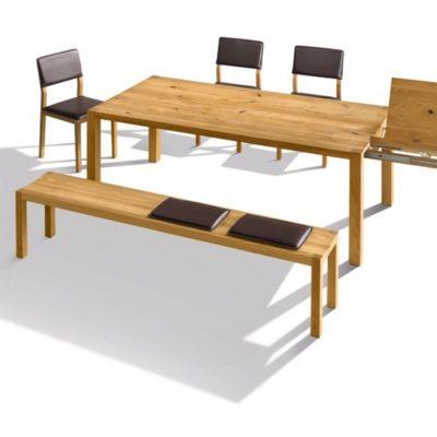 Tisch loft als Auszugstisch mit integrierter Einlegeplatte