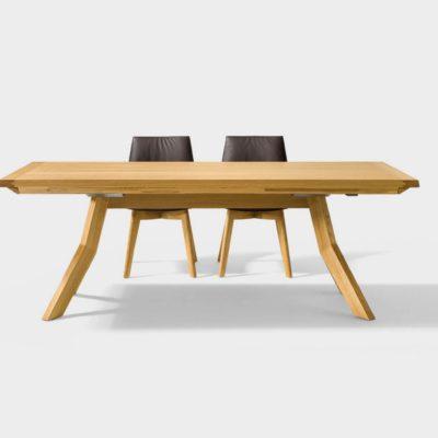 Tisch yps Längsansicht kann mit einer oder zwei Einlegeplatten oder Besteckladen ausgestattet werden