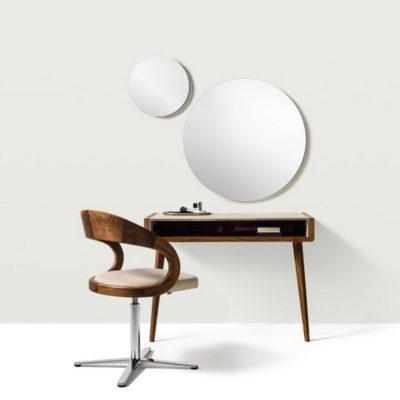 Konsoltisch sol in Nussbaum mit Stuhl girado sowie runden Spiegeln, wahlweise mit 40, 60 und 80 cm Durchmesser