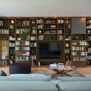 Regalsystem Cubus Bibliothek in Nussbaum mit Fernseher.