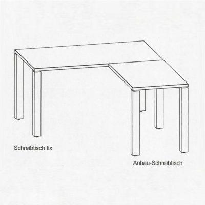 Schreibtisch cubus mit Anbautisch über Eck