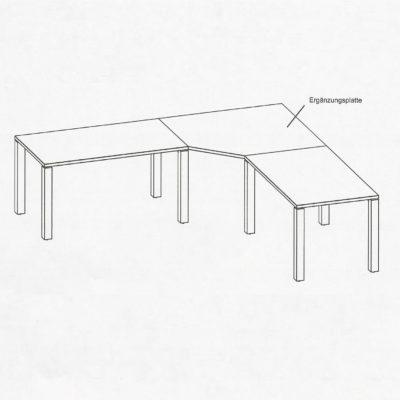 Schreibtisch cubus über Eck mit Ergänzungsplatte und Anbautisch