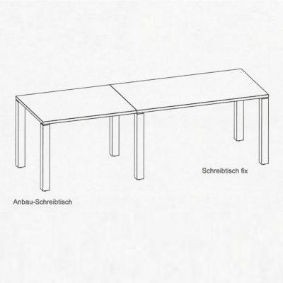 Schreibtisch cubus mit Anbautisch