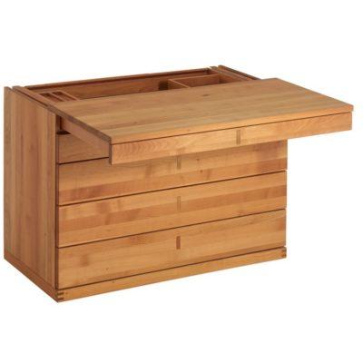 Sekretär cubus in Kirsche mit Schubladen und Klappgriffen in Holz