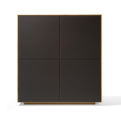 Highboard filigno - quadrat in Eiche und Farbglas