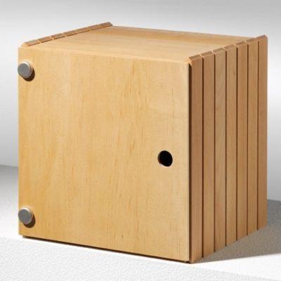Stapelbox mit Flächentüren hier in Ahorn, weitere Holzarten Buche oder Nussbaum