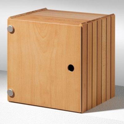 Stapelbox mit Flächentüren hier in Buche, weitere Holzarten Ahorn oder Nussbaum