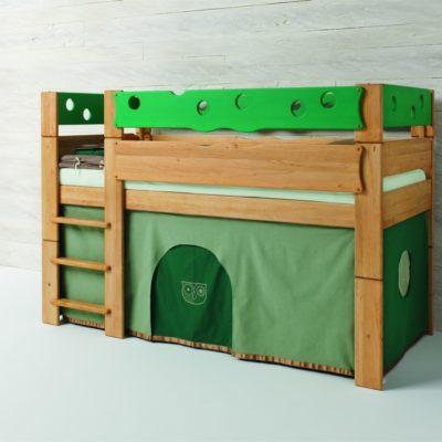 Höhlenbett-Motiv Eule mit grünem Brüstungsaufsatz