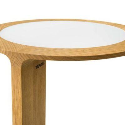 Beistelltische loop mit eingelegter Tischplatte in Leder oder Farbglas