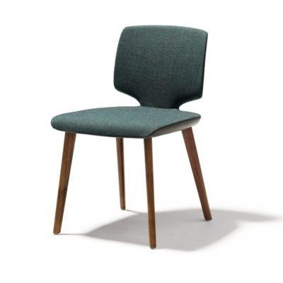 Stuhl aye - Gestell Nussbaum - Sitzfläche mit Stoffbezug und außen in Leder