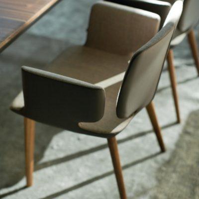 Stuhl aye - Stoff, Leder und Holz