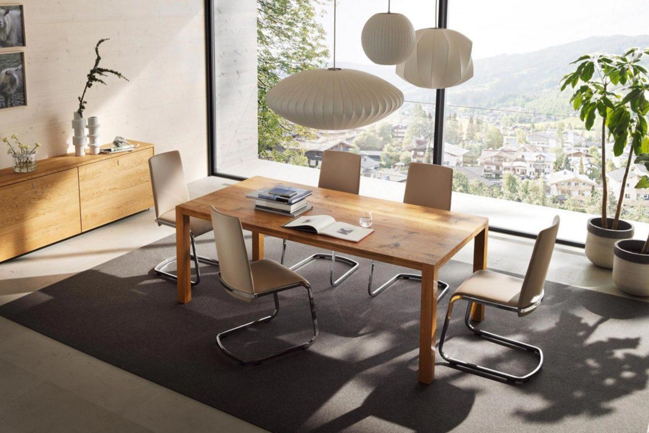 Tisch loft Eiche Wild mit Stühlen f1 in Leder
