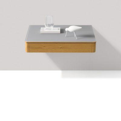 Nachttisch float schwebend mit Glasabdeckung und Lade