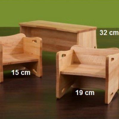 Stühle und Bank Triolino mit 3 möglichen Sitzhöhen