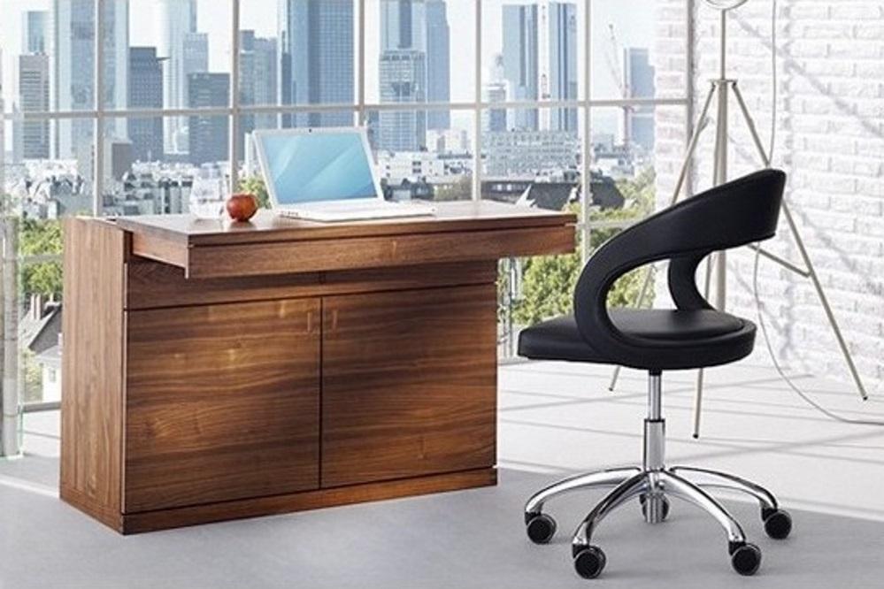 Sekretär cubus quadrat in Walnuss mit Schreibtischstuhl girado