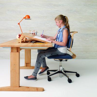 Schreibtisch MOBILE in der mittleren Höheneinstellung