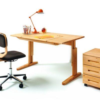 Schreibtisch-Drehstuhl mobile mit Schreibtisch und Rollcontainer mobile