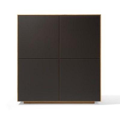 Highboard filigno - quadrat in Eiche und Farbglas