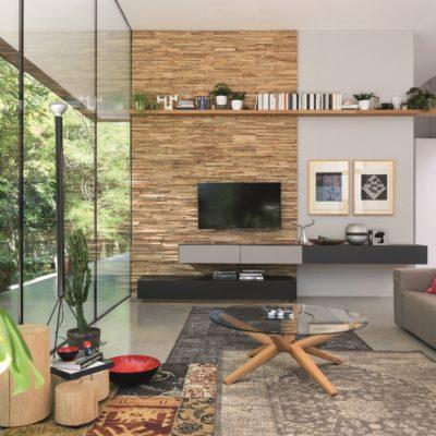 Wandkante als Wohnwandverkleidung-davor Lowboards cubus pure