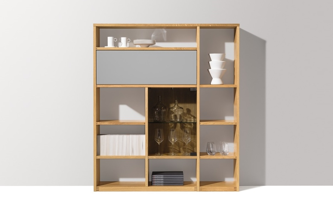 Highboard cubus regal in Eiche, Farb- und Rauchglas