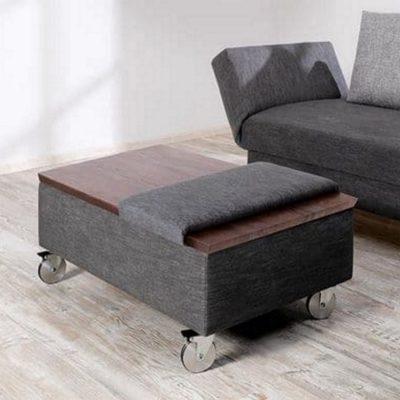 Liege-Schlafsofa Salto mit Hockertisch und gepolsterter Sitzauflage
