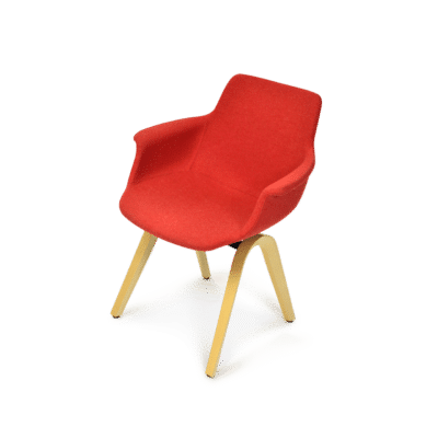ergonomischer Esszimmerstuhl M41 in rotem Wollstoff, mit Armlehnen