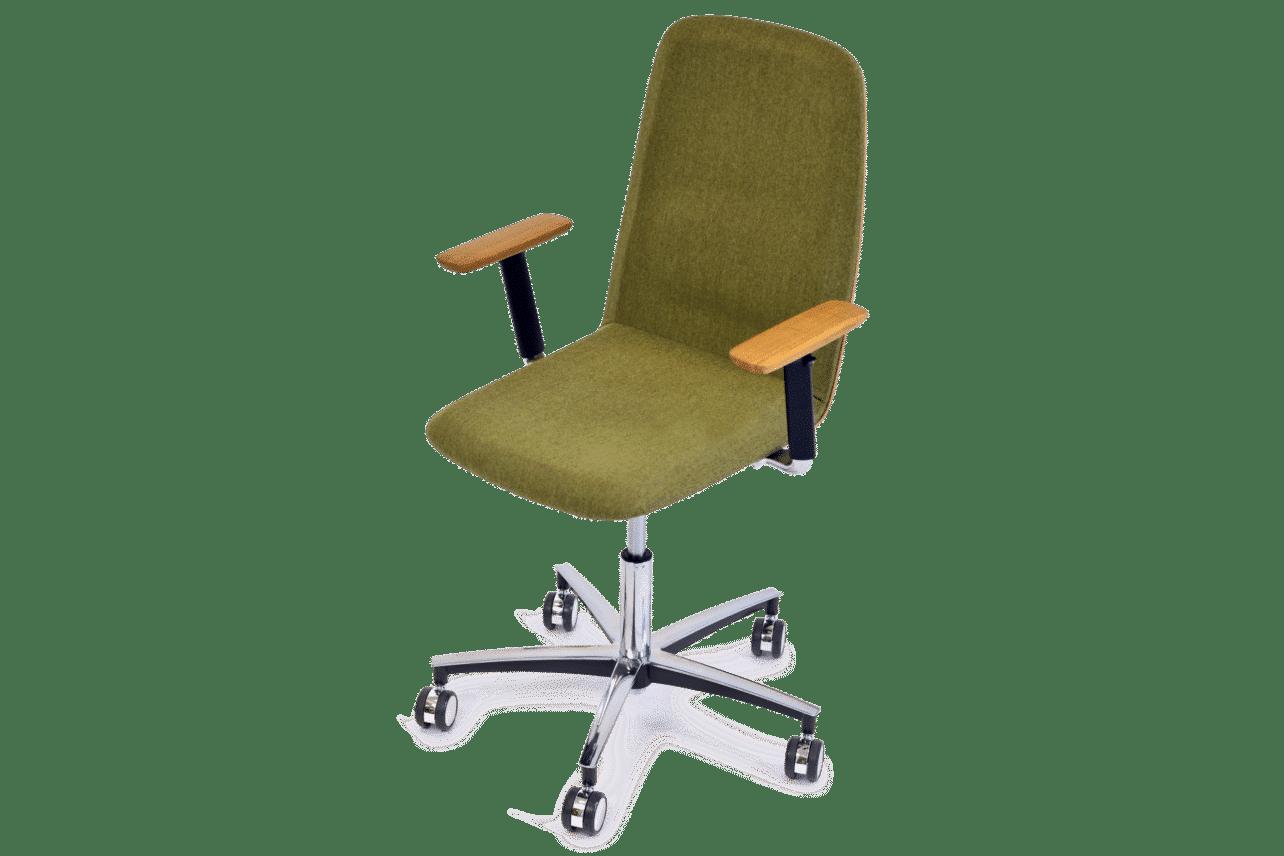 ergonomischer Bürostuhl, Rücken und Sitz gepolstert, mit Holz-Armlehnen und Rollen, Bezug grüner Wollstoff